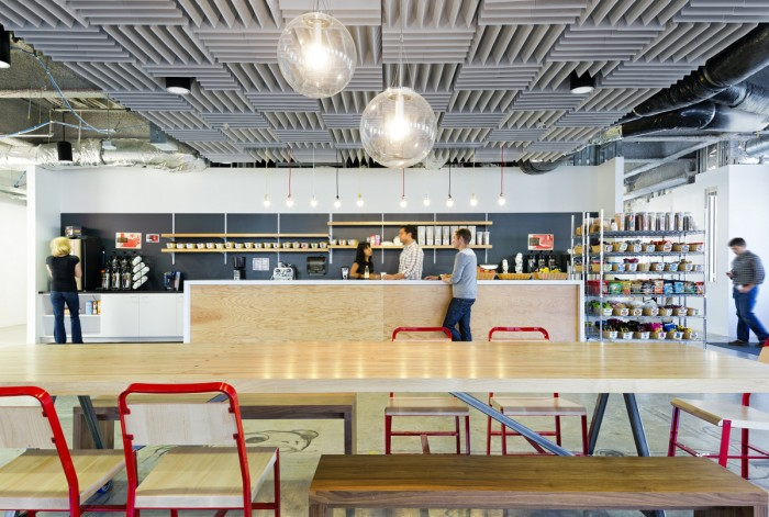Facebook`s breakout space featuring a fully equipped food counter