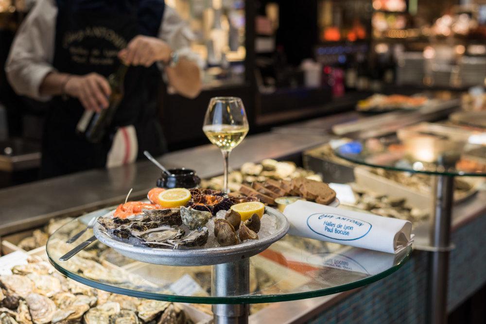 Fresh oysters at Chez Antonin, Les Halles de Lyon  image via Chez Antonin website