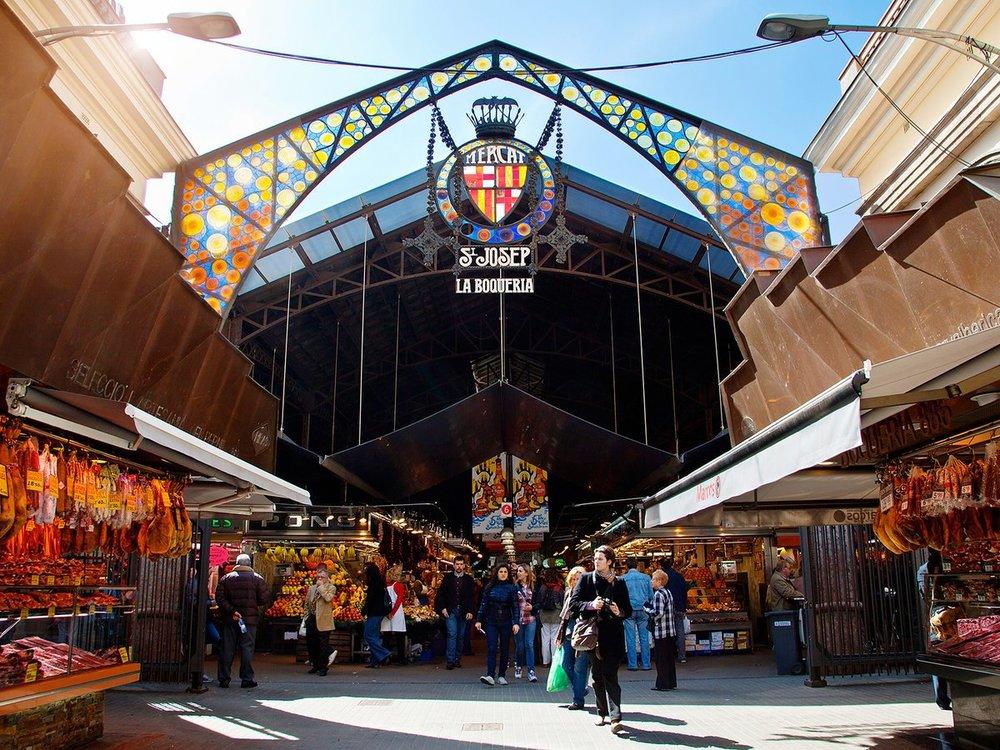 The famous La Boqueria in Barcelona  image via Travel and Leisure