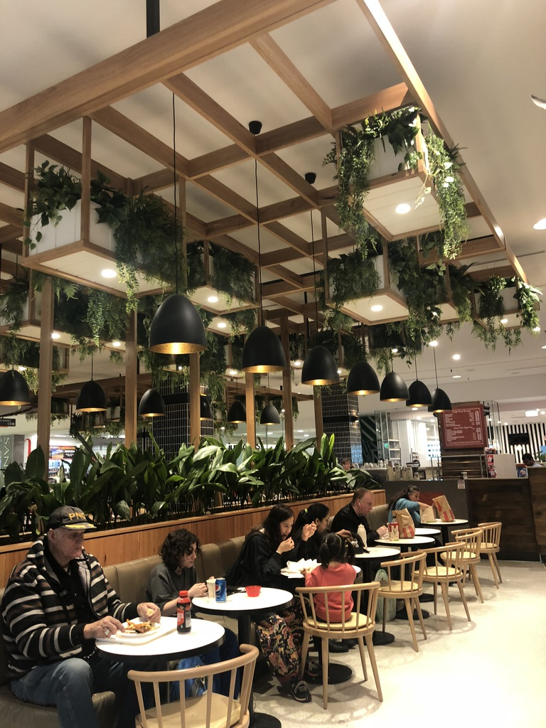 Plant Boxes & Potted Plants line the Food court at  Tea Tree Plaza  - South Australia