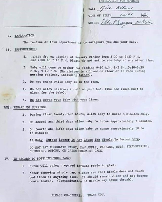 Postnatal instructions for mothers from 1968. How times have changed?! A friend shared this at work the other day and it gave me such a good laugh.