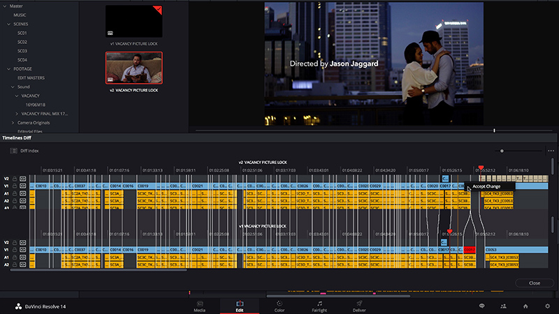 Timeline Comparison in DaVinci Resolve 14 Studio