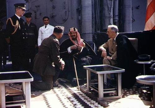 FDR and Abd al-Aziz Al-Saud on the USS Quincy