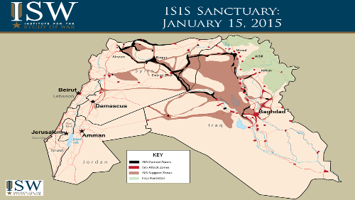 Territory held by ISIS as of Jan 15