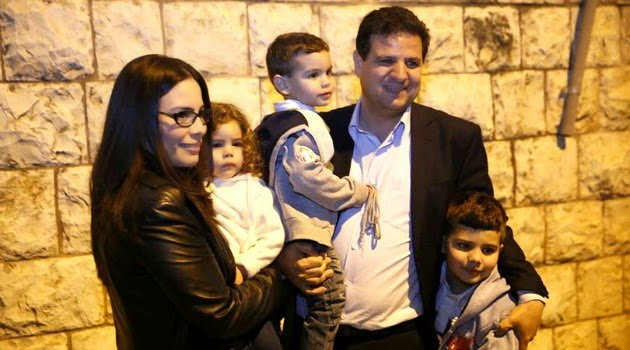 (picture 2nd from the right )  Ayman Odeh , the up and coming Arab Israeli politician, is well liked by Left Leaning Jews and Arabs alike. (Courtesy the Jewish Daily Forward.)