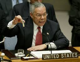 Colin Powell advocating for war at the United Nations