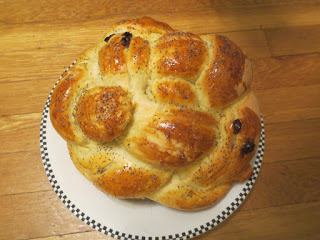 Above, a large and round raisin Challah for Rosh Hashanah (courtesy of the author!)