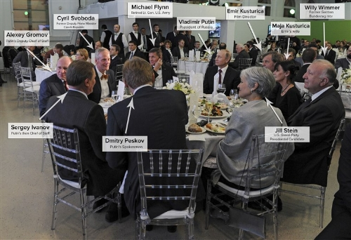 Just an average dinner with the future U.S. National Security Advisor and the President of Russia.