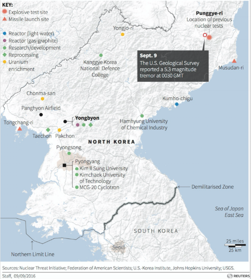 The known locations of North Korea's nuclear program.