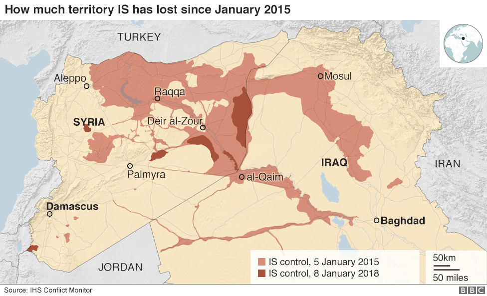 ISIS has lost even more territory since this map was created.