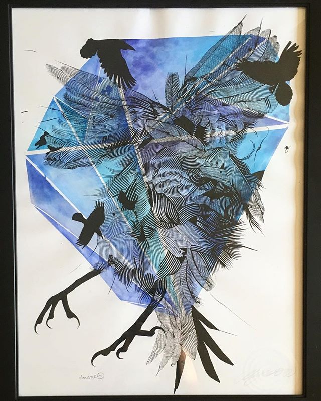 The birds- Watercolor, screen print, cut paper