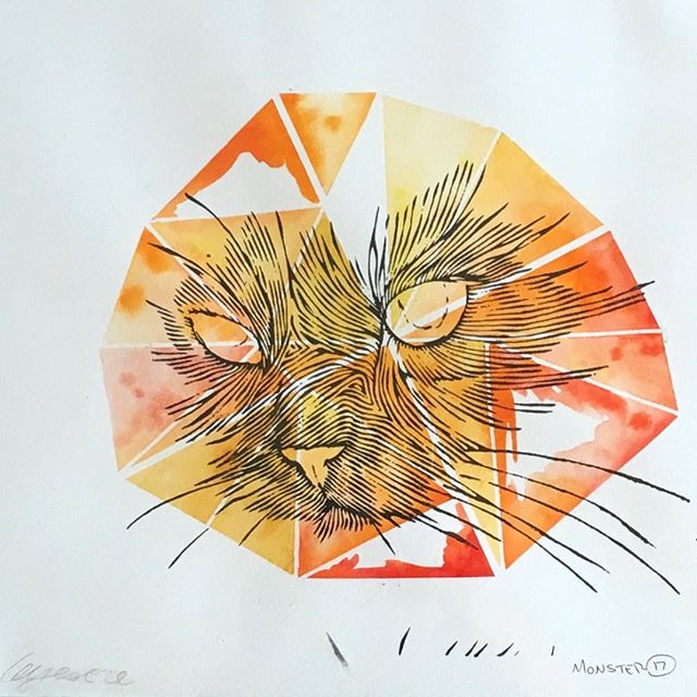 Cat- 12x12 print on watercolor. $100