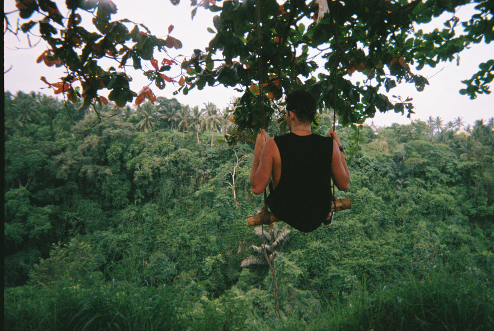 A lil jungle boy on a lil jungle swing