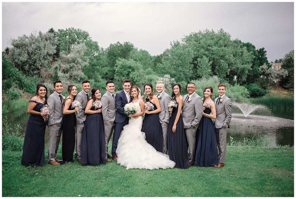 navy and grey wedding party, Baldoria on the water wedding, Colorado wedding photographer, denver wedding photographer, intimate colorado wedding photographer, downtown denver wedding photographer,