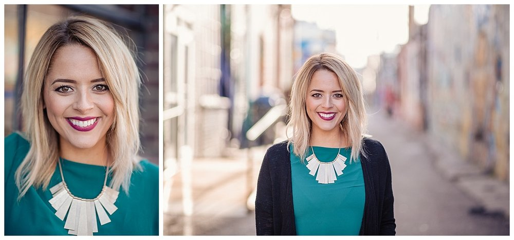 rino art district, purple lipstick, blonde hair, commerical portrait, downtown denver, statement necklace, turquoise blouse, denver portraits, colorado portraits, denver portrait photographer, denver portrait photography, colorado portrait photography, rino photo session