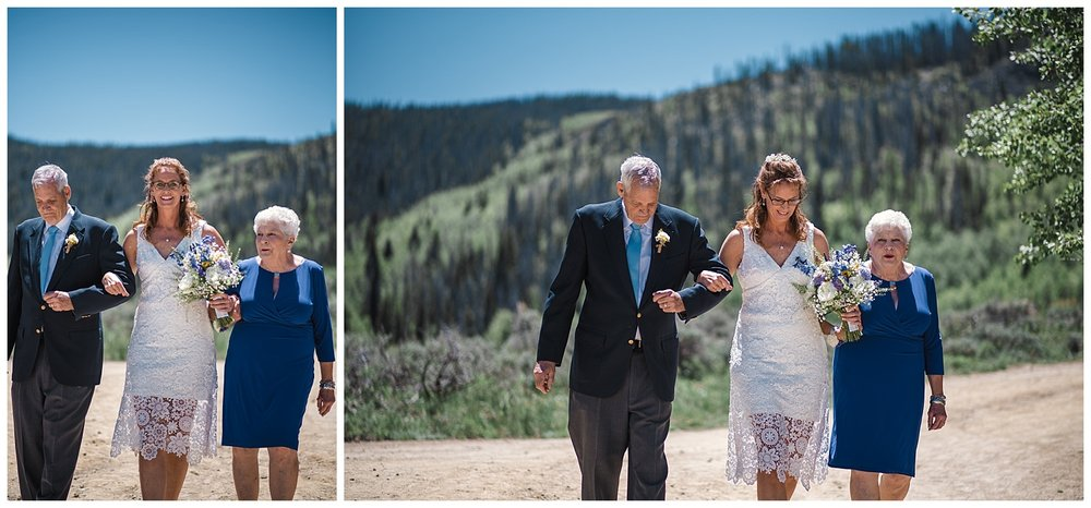 Bride and parents walking down the aisle at YMCA Snow Mountain Wedding, Rocky Mountain Wedding Photographer, Colorado Wedding Photographer, Colorado Elopement Photographer, Denver Wedding Photographer