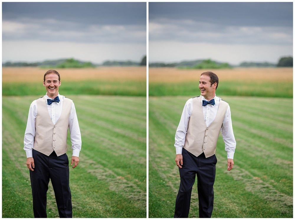 badger farms wedding, wisconsin wedding, wisconsin wedding photographer, summer wedding, open field, wisconsin groom, blue bowtie, smiling groom