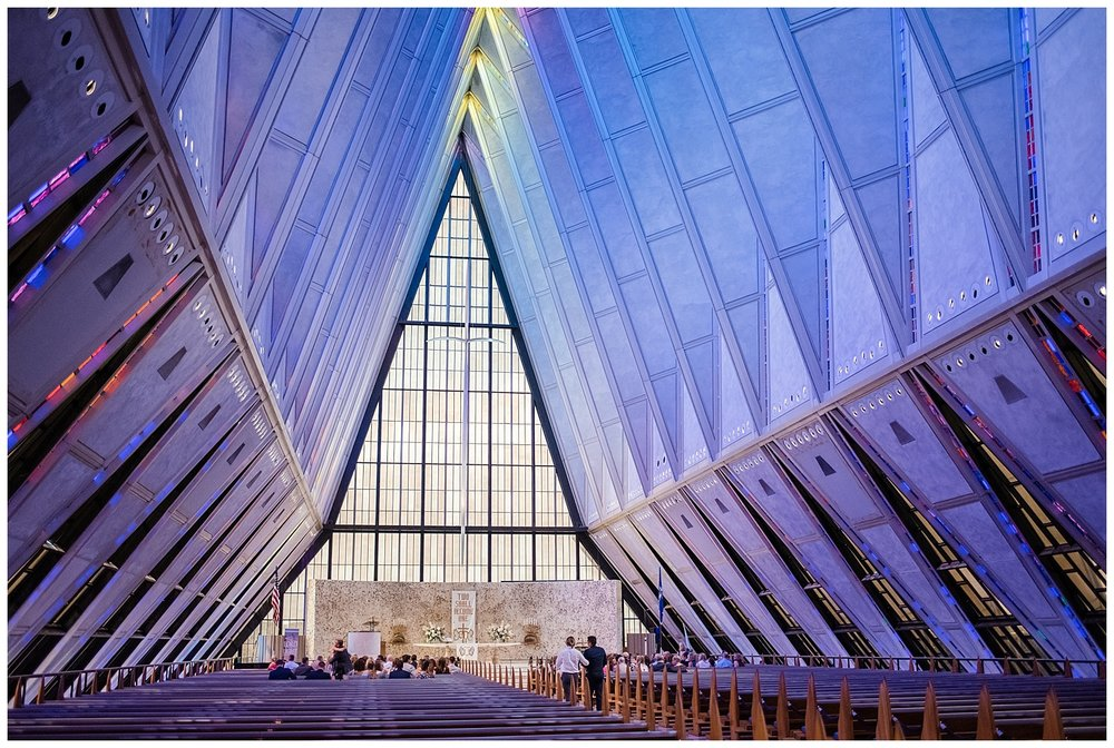 USAFA Chapel Wedding, Cadet Chapel Wedding, Colorado Springs Wedding Ceremony, Empty Chapel before Wedding, Stained Glass Chapel, Colorado Wedding Photographer, Denver Wedding Photographer, Denver Elopement Photographer, Colorado Elopement Photographer, Rocky Mountain Elopement Adventure Photographer, Downtown Denver Wedding Photographer
