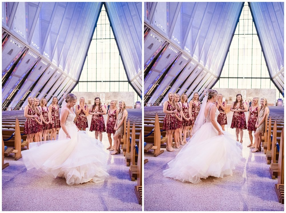USAFA Chapel Wedding, Cadet Chapel Wedding, Colorado Springs Wedding Ceremony, Empty Chapel before Wedding, Stained Glass Chapel, Bride and her bridesmaids, Colorado Bride, Tulle Wedding Dress, Sparkly Bridesmaids Dresses, First Look, Colorado Wedding Photographer, Denver Wedding Photographer, Denver Elopement Photographer, Colorado Elopement Photographer, Rocky Mountain Elopement Adventure Photographer, Downtown Denver Wedding Photographer