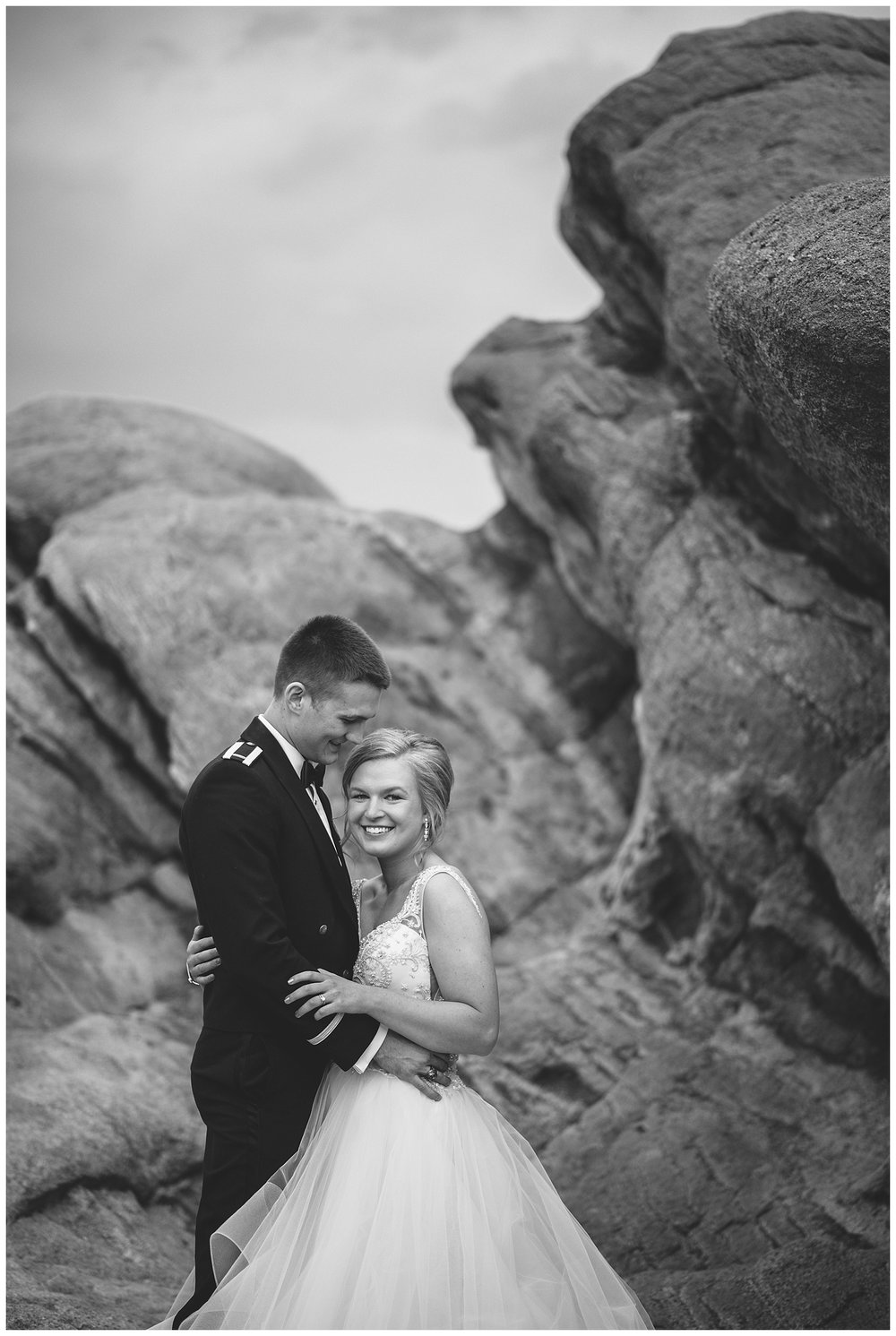 Military Wedding, bride and groom, navy suit groom, dress blues groom, bridal party, romantic portraits at garden of the gods, bride and groom at garden of the gods, Colorado Wedding Photographer, Denver Wedding Photographer, Denver Elopement Photographer, Colorado Elopement Photographer, Rocky Mountain Wedding Photographer, Downtown Denver Photographer,