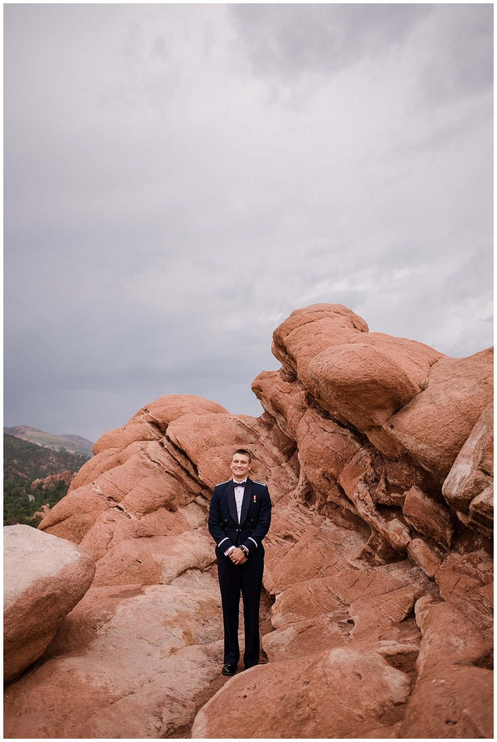 Military Wedding, bride and groom, navy suit groom, dress blues groom, bridal party, romantic portraits at garden of the gods, bride and groom at garden of the gods, Colorado Wedding Photographer, Denver Wedding Photographer, Denver Elopement Photographer, Colorado Elopement Photographer, Rocky Mountain Wedding Photographer, Downtown Denver Photographer, colorado springs wedding