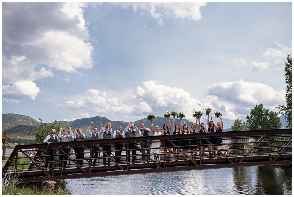 bridal party portraits at estes park resort, rocky mountain elopement photographer, rocky mountain wedding photographer, colorado wedding photographer, Estes Park wedding photographer