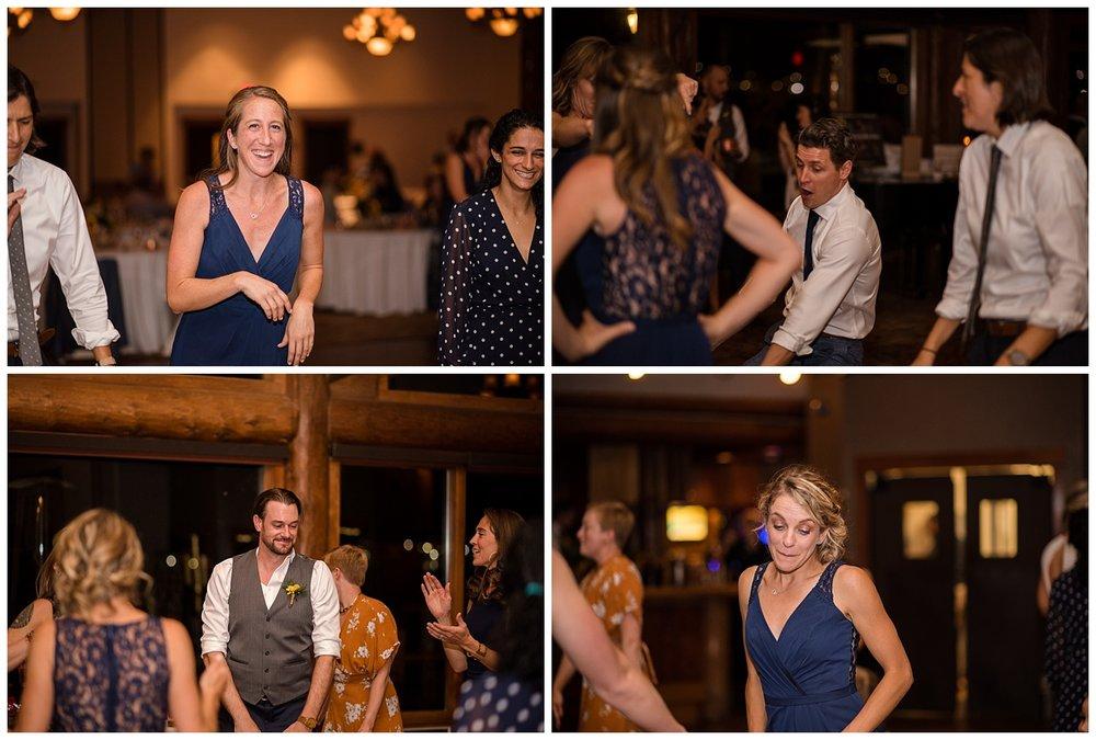 wedding guests dancing at estes park resort, rocky mountain elopement photographer, rocky mountain wedding photographer, colorado wedding photographer, Estes Park wedding photographer