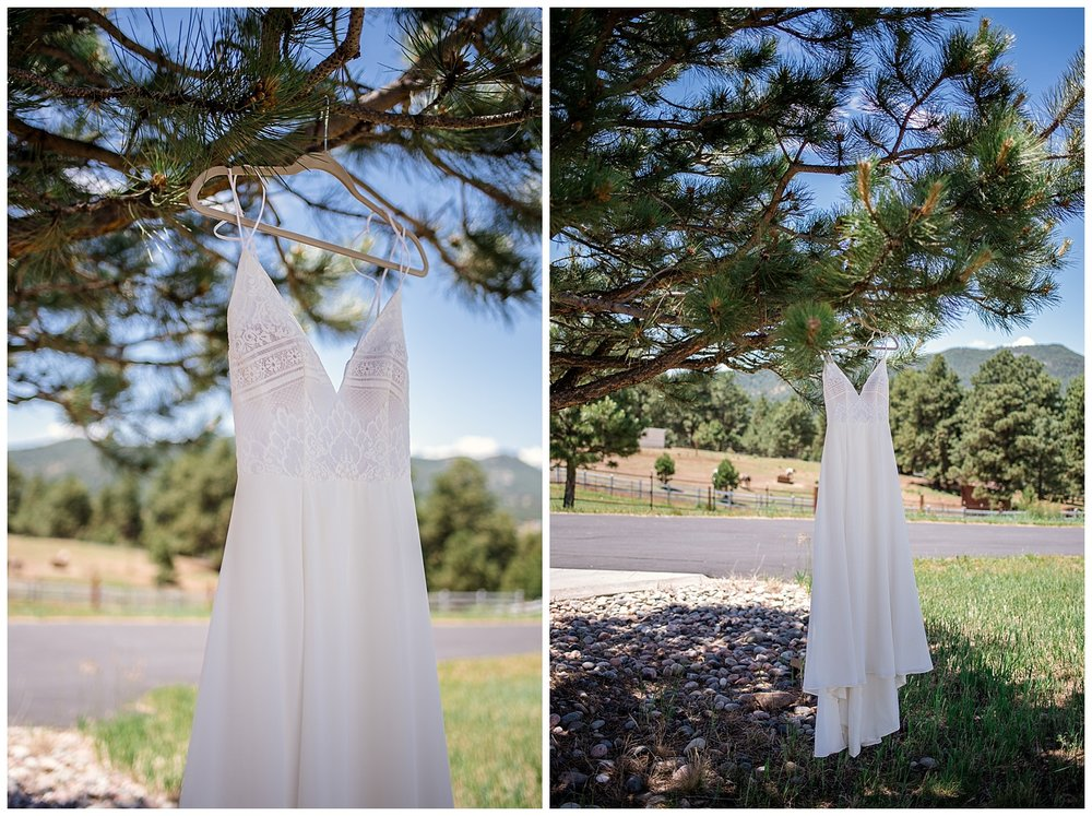 Brides dress in a tree at Beaver Ranch in Conifer Colorado, Colorado Wedding Photographer, Rocky Mountain Wedding Photographer, Intimate Colorado Wedding Photographer