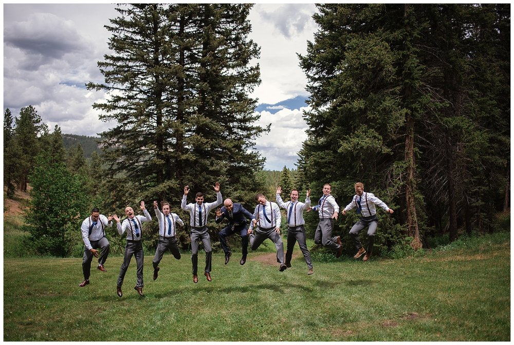 wedding party portraits at Beaver Ranch in Conifer Colorado, Colorado Wedding Photographer, Rocky Mountain Wedding Photographer, Intimate Colorado Wedding Photographer