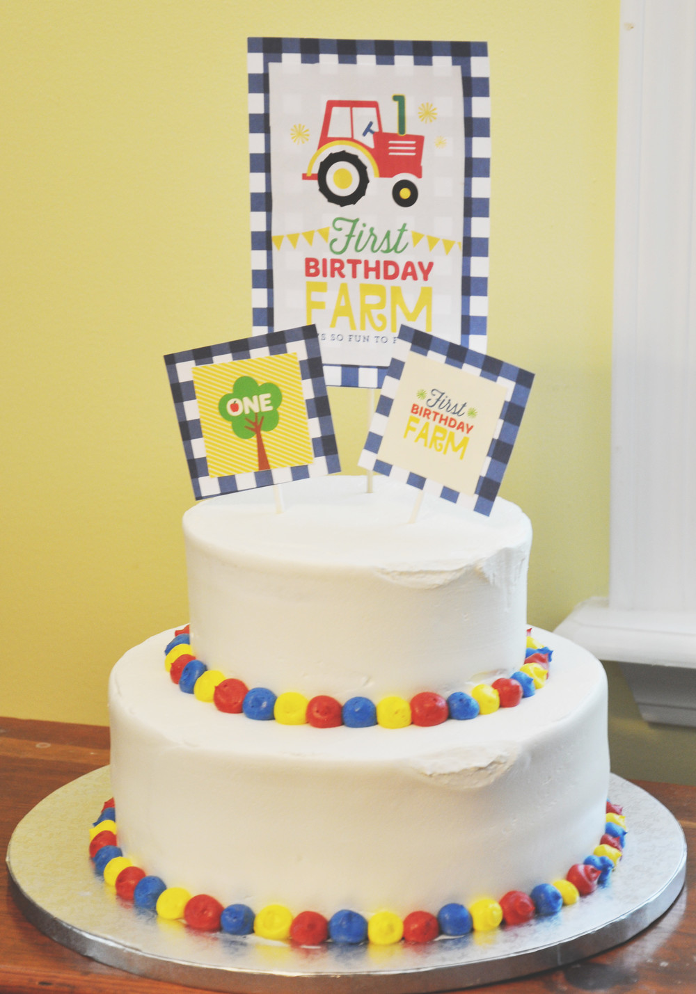 Delicious cake made by Publix and topped with Fisher-Price printables.