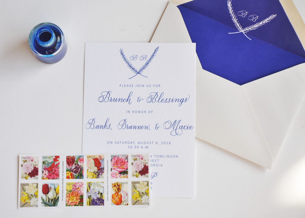 After I digitized the calligraphy, I printed the invitations on beautiful paper from K.A. Artist Shop, Athens, Georgia.  I lined the cream envelopes (also from K.A. Artist Shop) with a custom liner I created to to match the invitation.