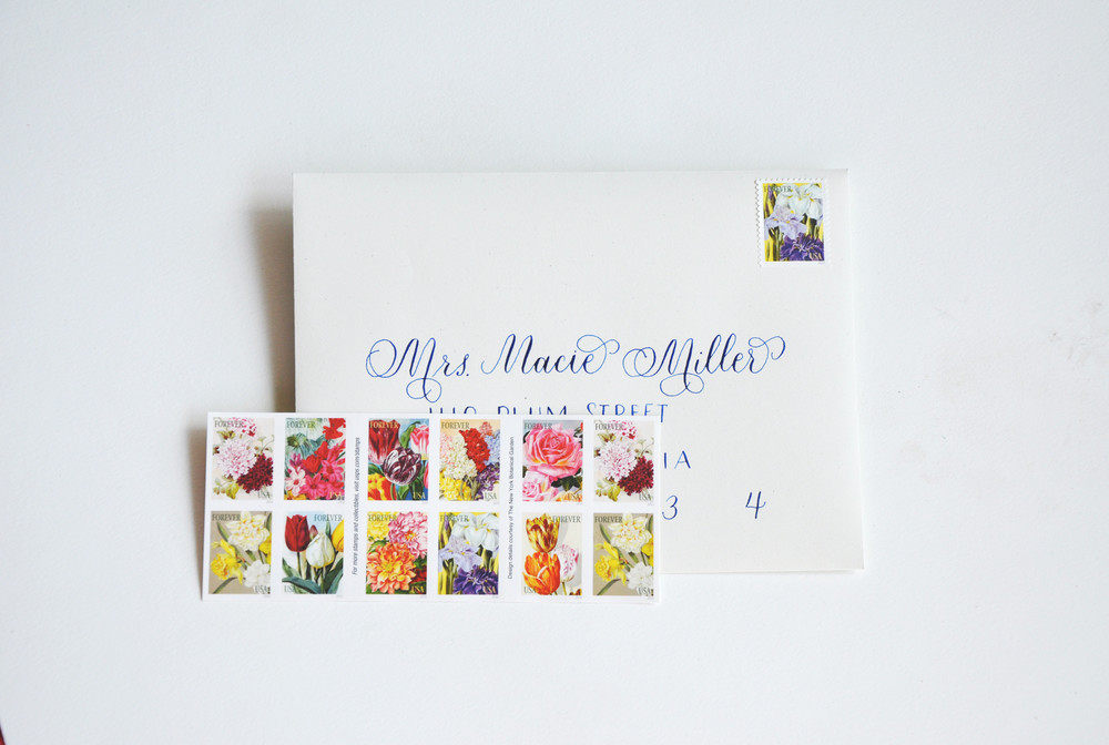 Each invitation was addressed with pointed-pen calligraphy.  Beautiful botanical stamps completed the look.