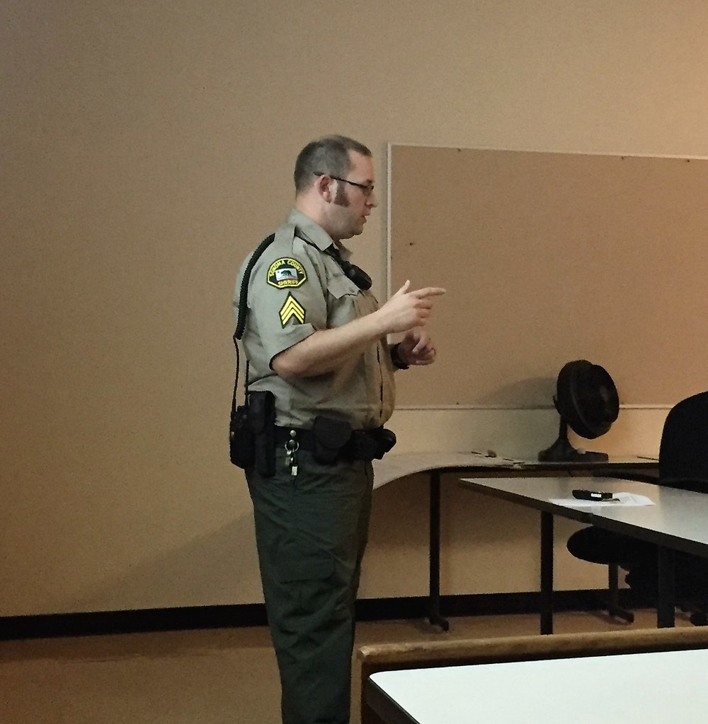 Sgt. B. Gallaway with the Sonoma County Sheriff's Department teaching a class on life as a Correctional Deputy.