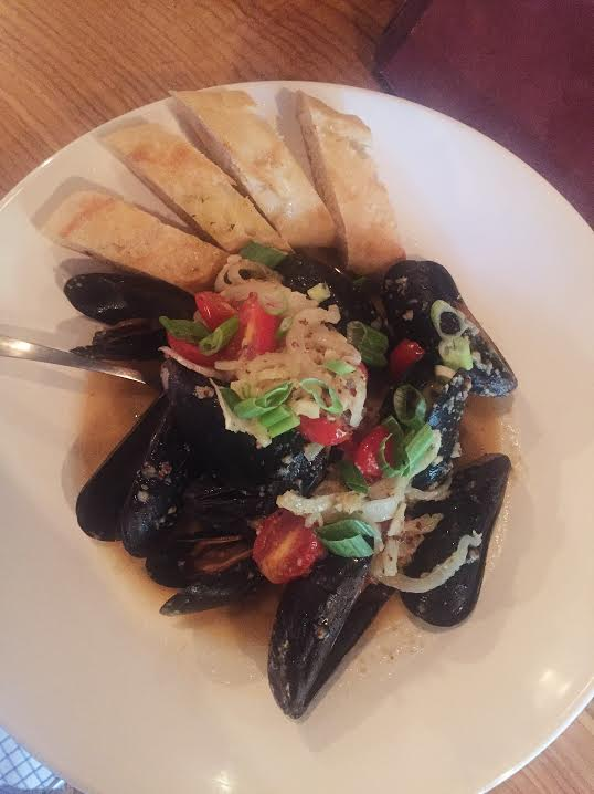 Mussels: white wine, fennel, roasted tomato, Niçoise Olive, baguette