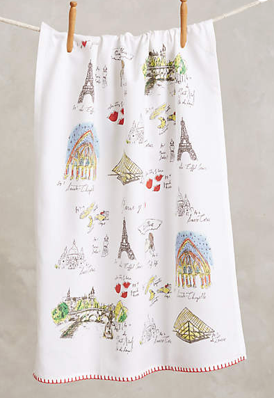 Diva's Mapped-Out Dishtowel designed exclusively for Anthropologie!  Here you'll find Diva's illustrations with hand-lettering, charting out her favorite spots and things to do in the majestic cities of Paris, London, and NYC. Cotton with colored embroidery at bottom, and a nice large size for kitchen use.