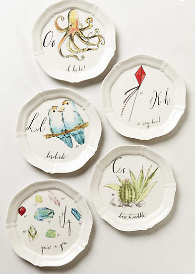 "Diva's Calligrapher Canapé Plates available exclusively at Anthropologie!  Whether you get your initials or the whole alphabet, these dessert plates are are real treat.  Diva designed each plate using her calligraphy, illustrations & watercolor, with a sweet concept in mind.  For example, 'Dd' is an image of her pug dog, Henry, with ""delightful"" in calligraphy - and he truly is!  Enjoy!"