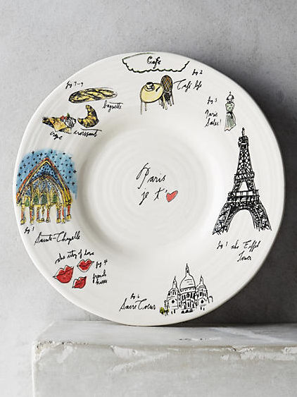 City Vignette Canape Plate - London, Paris, NYC