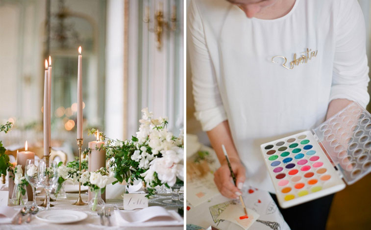 Left: lunch is served (spot my place cards?), Right: painting swatches for a branding style board (photo by Greg Finck)