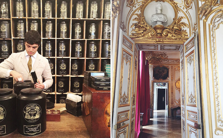 Left: Stocking up on my favorite tea (Marco Polo) at Mariage Freres, Right: Exploring Hotel de Soubise