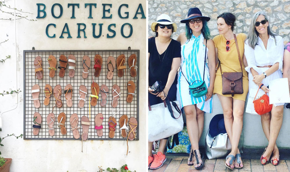 Left: Shopping for custom made sandals in Positano, Right: Cindy, Dori, Me, & Toni on the island of Capri