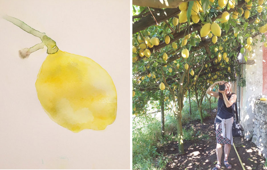 Left: Watercolor demo from class,  Right: Karen doing her thing on our lemon tour.  Slow Art Retreat 2016