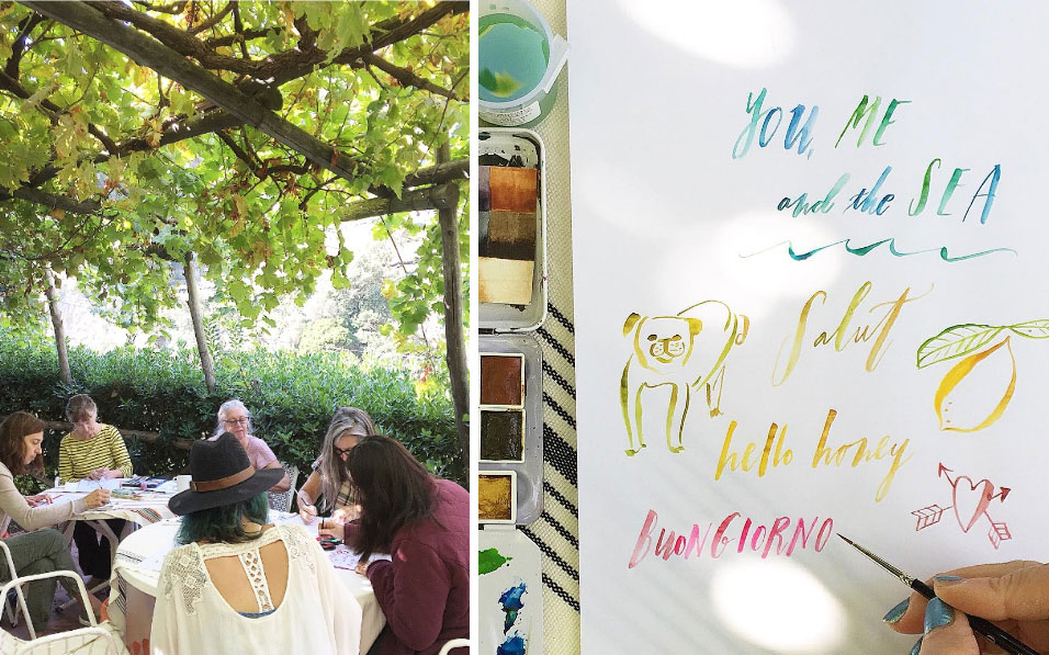Brush lettering lesson under the pergola with Karen, Jennifer, GIna, Toni, Cindy, & Dori.  Slow Art Retreat 2016