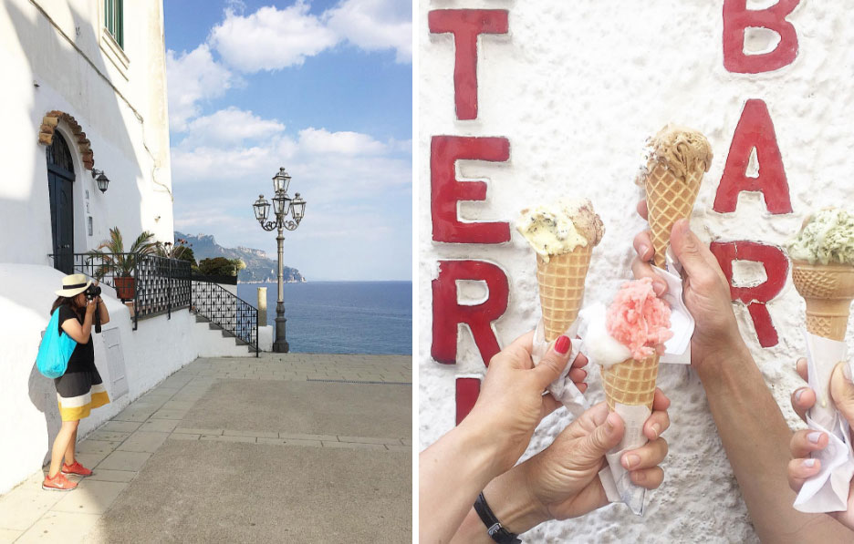 Left: Photographer Cindy Lin in action,  Right: GELATO!!!  Slow Art Retreat 2016