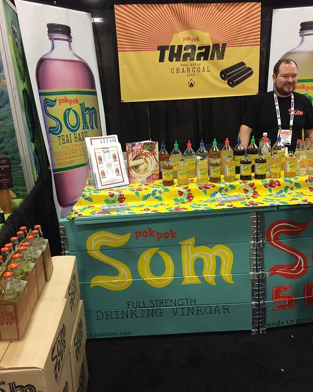 """Pok Pok Som Soda is at @craftcarejoy #WFFS16 - booth 1273. Come whisper """"Ike's Chicken Wings"""" to Dylan and we'll give you a t-shirt, while supplies last!"""