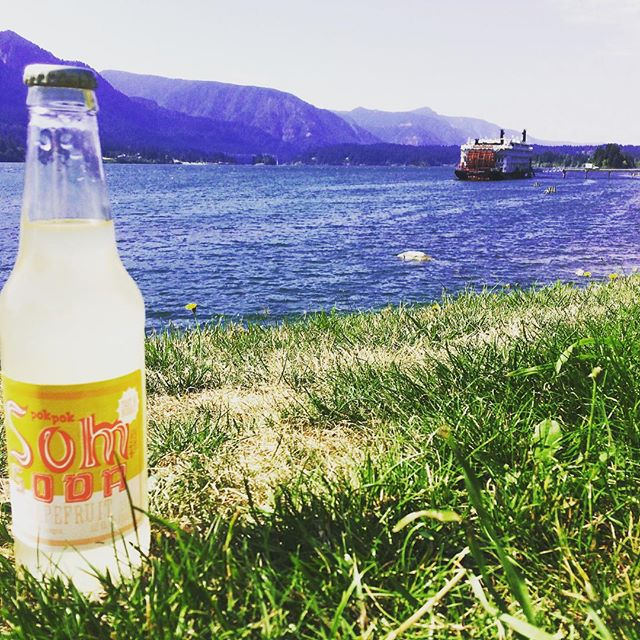 Can't complain about where our co-bottler is located! This is our first run of Som Soda! Be on the look out for it in the next few months! #pokpoksom #somsoda #columbiarivergorge