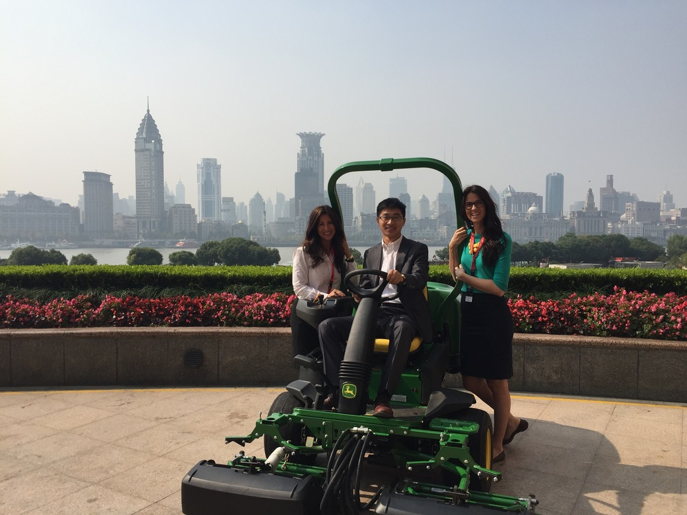 Photo taken of Aubrey McCormick and Gina Rizzi in Shanghai, China at the HSBC Golf Business Forum