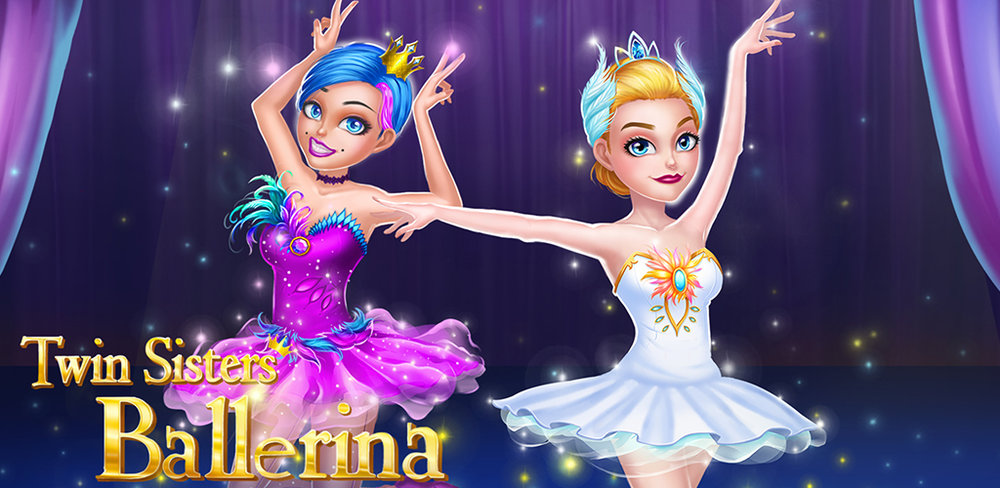 Twin Sisters Ballerina: Dance, Ballet, Dress up  Hi, my ballerina girls! Let's have a makeover and show your best ballet dance!
