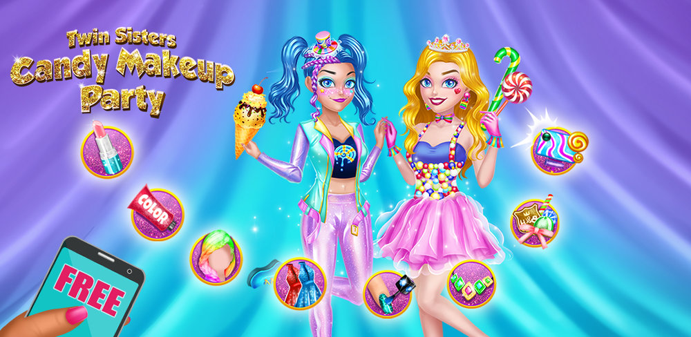 Unicorn Candy Makeup Dress Up: Twin Sisters Party  Hurry up! Get dressed and put on makeup! We are going to have the coolest candy