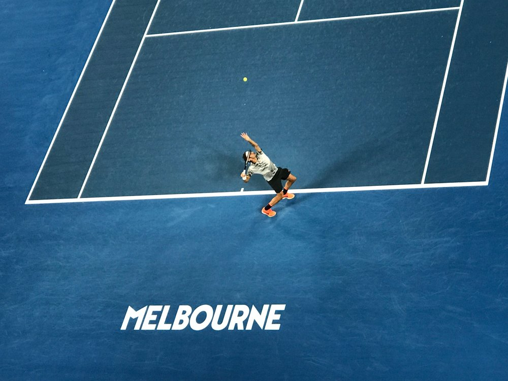 RØGER  - Yearly trips to Australia in January to work the Australian Open is always a pleasure. But this year, witnessing a final between the two all-time greats Rafael Nadal and Roger Federer, was incredible. This was taken from the catwalk above the court in Rod Laver Arena during the final.