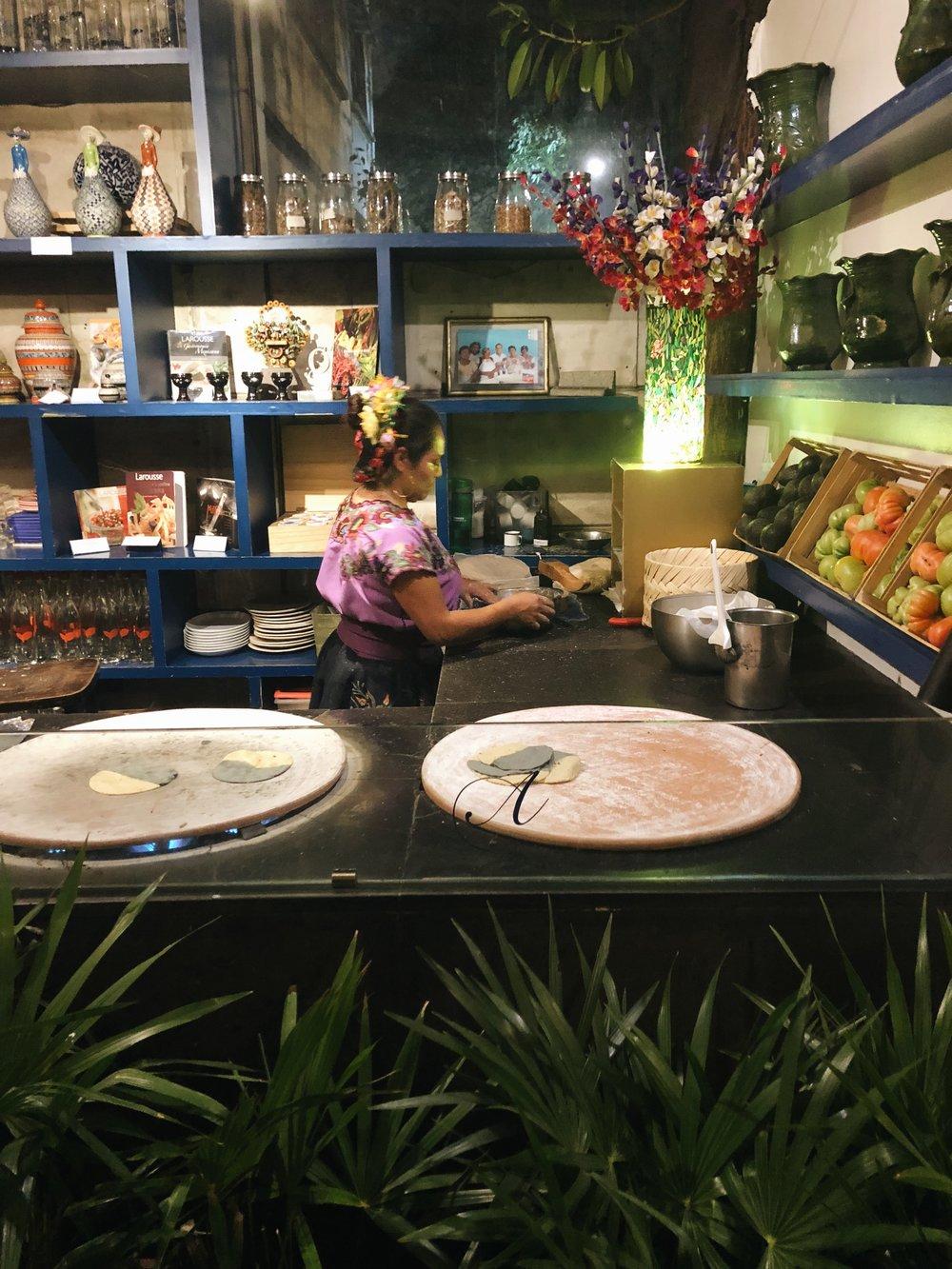 Tortilla making at Azul.